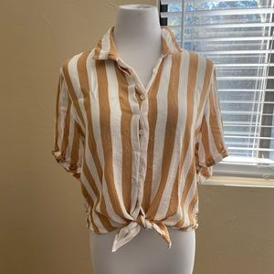 Striped Tie-Front Top Size 10/XL